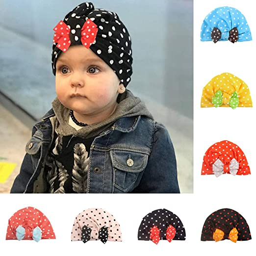 7cdf68c48 Amazon.com: Infant Baby Girls Turban Hats Turban Bun Knot Soft ...
