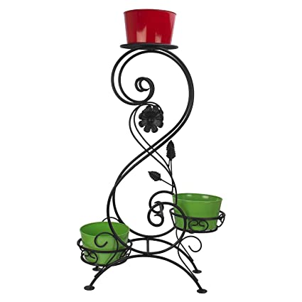 GIG Handicrafts 3-Tier Decorative Potted Plants Shelf Without Metal Pots for Balcony,