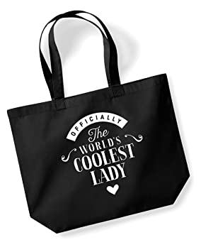Lady Birthday Gift Or Christmas Bag Tote Shopping Present Gifts For Women Worlds Coolest Black Amazoncouk Kitchen