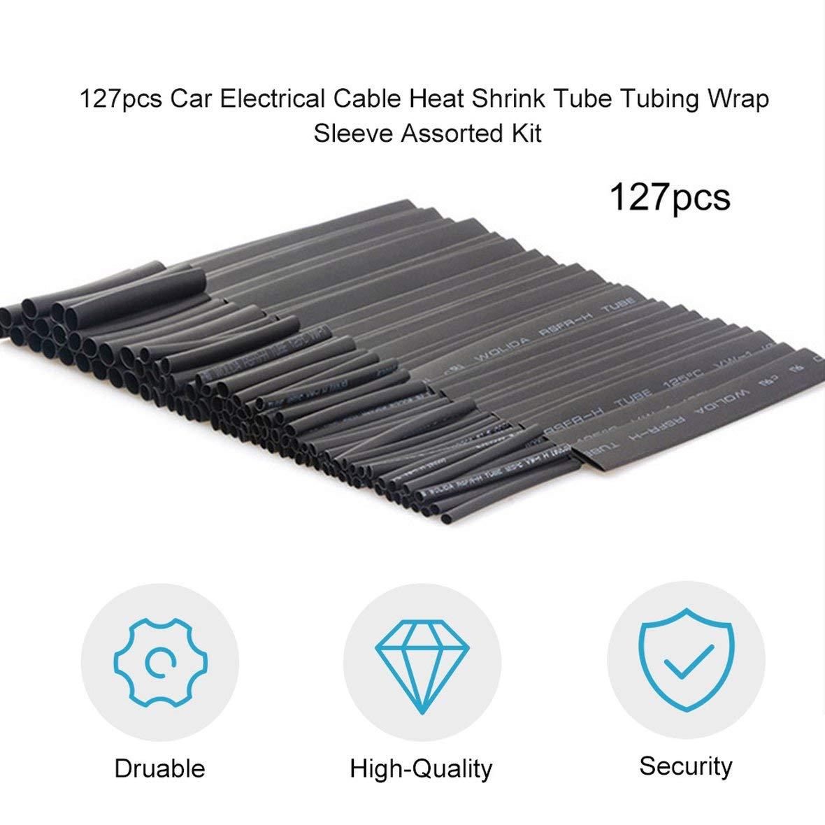 kit Assorti 127pcs Gaine thermor/étractable pour Cable /électrique pour Voiture Gaine denveloppe de Tube Ignifuge Noir Protection de lenvironnement