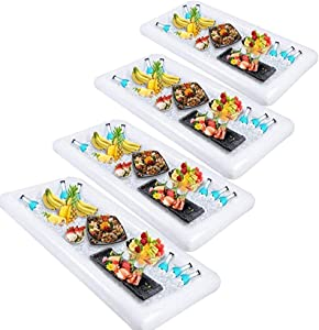 Inflatable Salad Bar Buffet Ice Cooler Beverage Serving Bar Food Drink Holder for Party Picnic BBQ Luau with Drain Plug(4 pack)