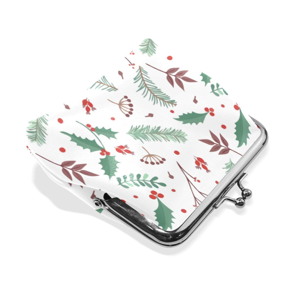 Christmas Pine Xmas Gift Coin Purse Buckle Vintage PU Pouch Kiss-lock Wallet for Women Girl