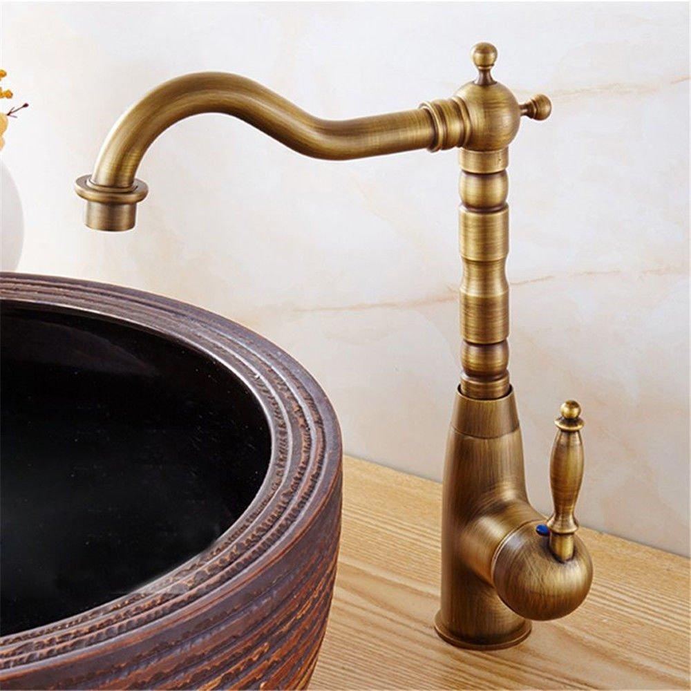 JingJingnet 洗面台ミキサータップフルコンチネンタルアンティーク銅キッチン蛇口洗面台蛇口温水と冷水の混合弁洗面台ミキサー360°回転皿洗い盆地シンクタップ、 (Color : B) B07R1J217N B