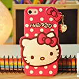 Cute Hello Kitty Silicone With Pendant Back Case Cover For Iphone 5 /5S