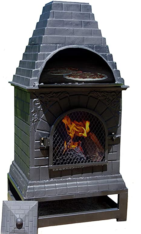Outdoor Chiminea Fireplace Garden BBQ Grill Patio Heater Pit Pizza Oven Chimenea