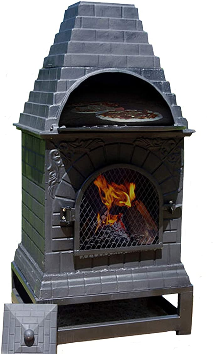 Amazon Com Casita Wood Burning Chiminea Outdoor Fireplace Grill And Oven Outdoor Pizza Oven And Fireplace Garden Outdoor