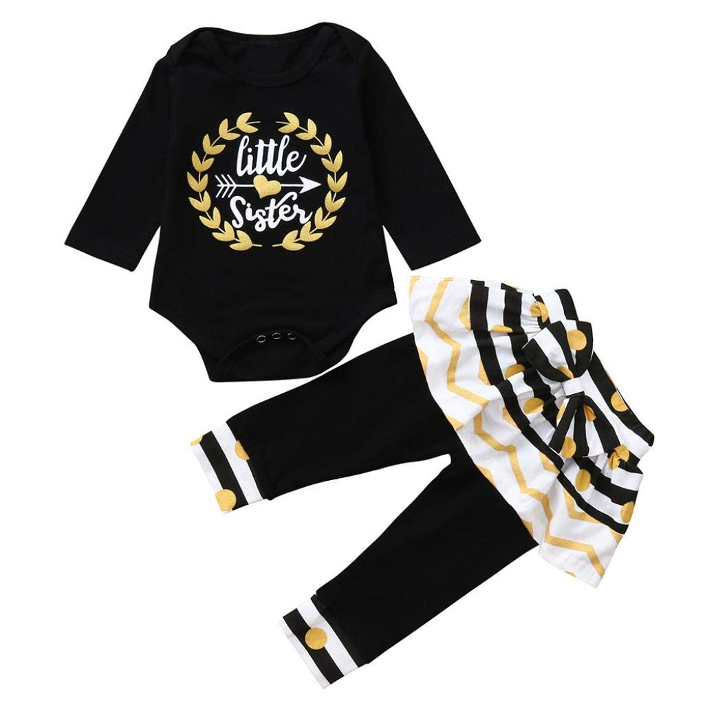 Baby Girl Autumn Romper Sets for 0-24 Months,Jchen(TM) Newborn Infant Baby Girls Long Sleeve Letter Romper Tops+Dot Striped Pants Outfits Set (Age: 12-18 Months)
