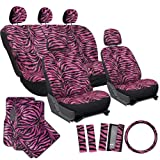 zebra car accessories interior - OxGord 21pc Zebra Car Seat Cover, Carpet Floor Mat, Steering Wheel Cover and Shoulder Pad Set - Universal Fit, Truck, SUV, or Van - Hot Pink