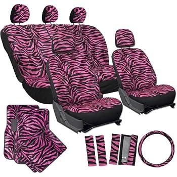 7 Pc Safari Zebra Pink Print Seat Cover Set 2 Lowback Seat Covers, 1 Wheel Cover And 2 Shoulder Pads - Zebra Pink - фото 2