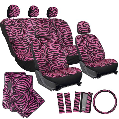 OxGord 21pc Set of Zebra Print Car Seat Covers w/Deluxe Velour Animal Carpet Floor Mats, Steering Wheel Cover & Shoulder Pads - Airbag Compatible - Front Low Back Buckets - 50/50 or 60/40 Rear Split Bench - Universal Fit for Cars, Truck, SUV, or Van, Hot Pink (Pink Seat Covers For Cars compare prices)