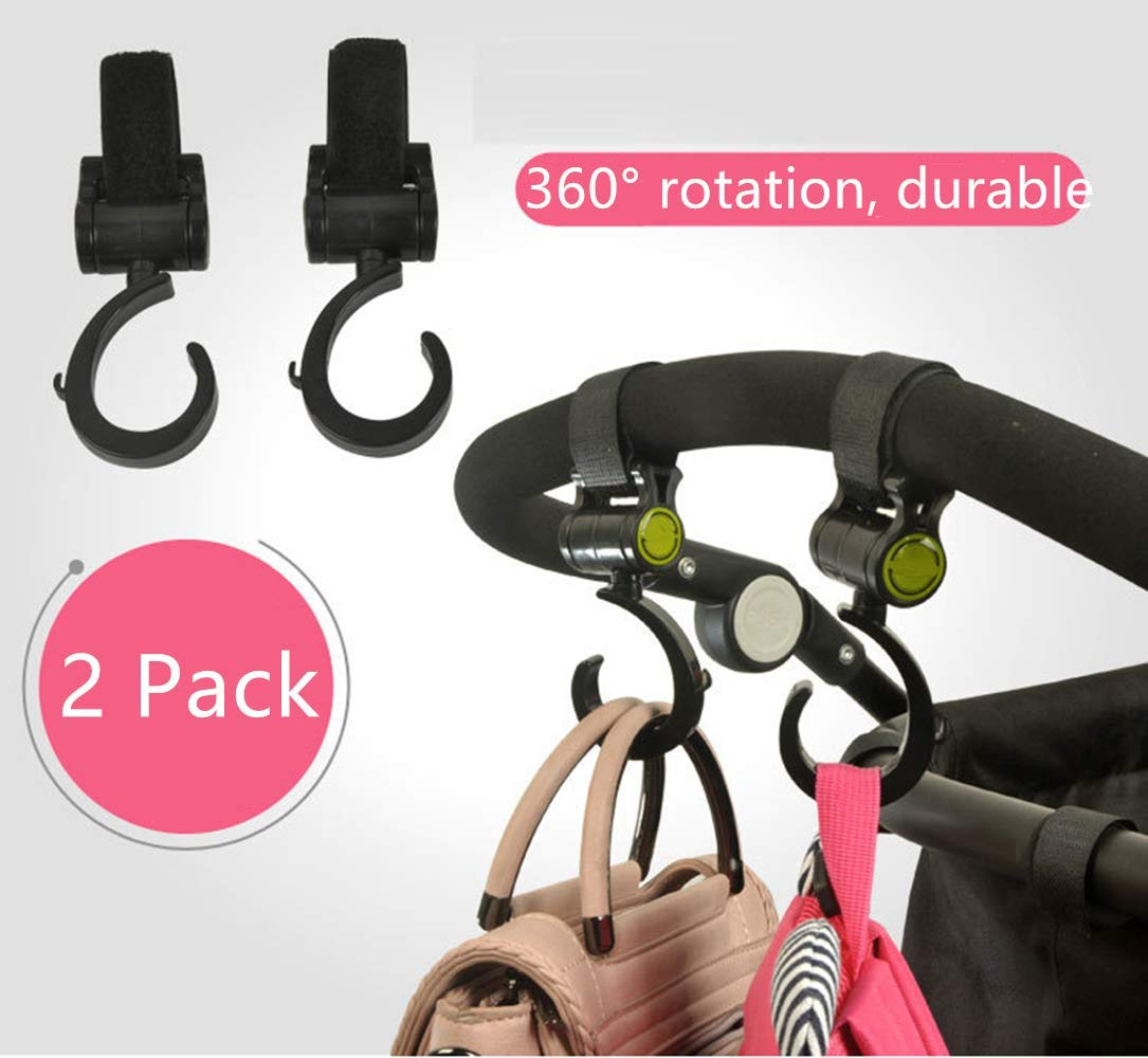 MBODM 2 Pack Stroller Hook Multi Purpose Hooks for Baby Diaper Bags Purse,Great Accessory for Mommy When Jogging Groceries Walking or Shopping Clothing
