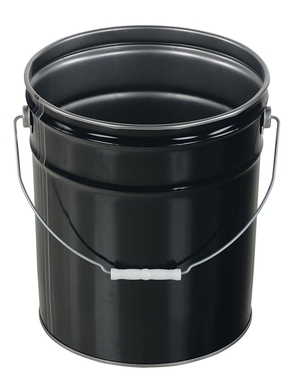 Vestil PAIL-STL-RI Steel Open Head Pail with Handle, 5 gallon Capacity, Black (Pack of 2) by Vestil (Image #2)
