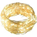 33 Feet 100 LED Portable Waterproof Indoor Outdoor Decorative Copper Wire Fairy String Lights Battery Operated for Patio Wedding Seasonal Holiday (Warm White (None Remote))