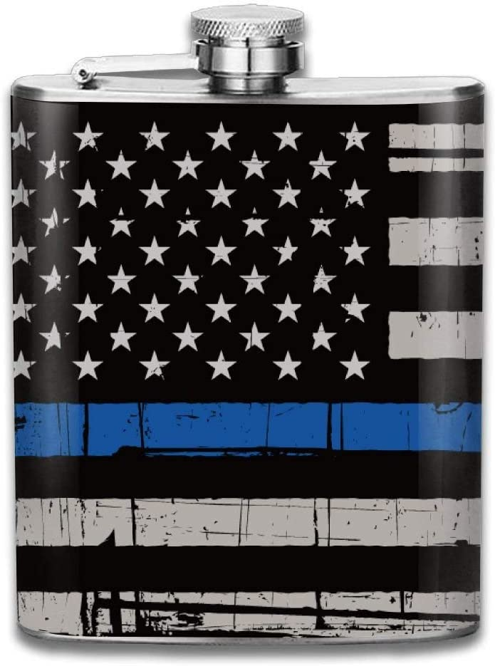 iuitt7rtree Thin Blue Line Sticker American Flag Police Portable Stainless Steel Flagon Liquor Flask