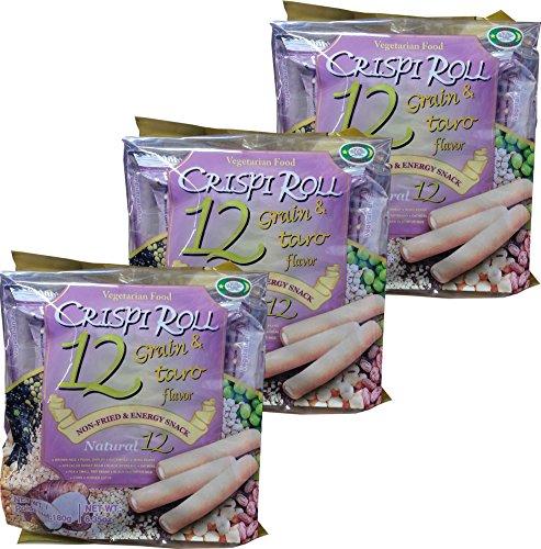 Ovo-vegitarian Food Crispi Roll 12 Grain & Taro Flavor (3 Pack of 12) 크리스피 롤 12 곡물 (3 Pack of 12)