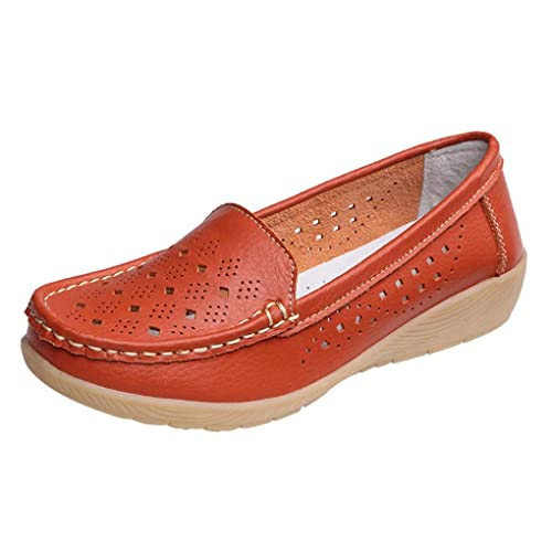 Zapatos de Loafer Plataforma de Cuero para Mujer Otoño Verano 2018 Moda PAOLIAN Zapatillas Mini Tacón Zapatos Náuticos Hueco Cuña Suela Blanda Señora Casual ...