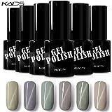 KADS キャッツアイジェルネイルカラーセット 6色入り ジェルネイルカラーポリッシュ UV/LED対応 グリーン/グレー系 マニキュアセット