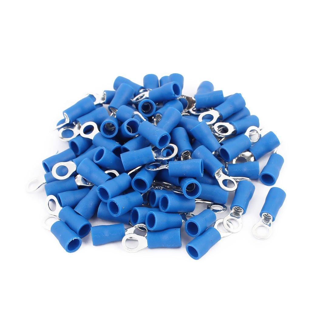 100PCS RV2-4S 16-14AWG Insulated Wire Connector Electrical Crimp Ring Terminals