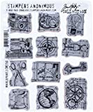 Stampers Anonymous Tim Holtz Cling Rubber Stamp Set, 7 by 8.5-Inch, Mini Blueprints No.3
