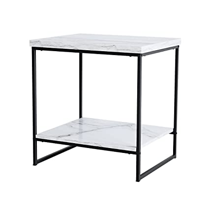 ba887ee31f Tilly Lin Faux Marble Side Table, Water Resistant Accent End Table with  Lower Shelf for