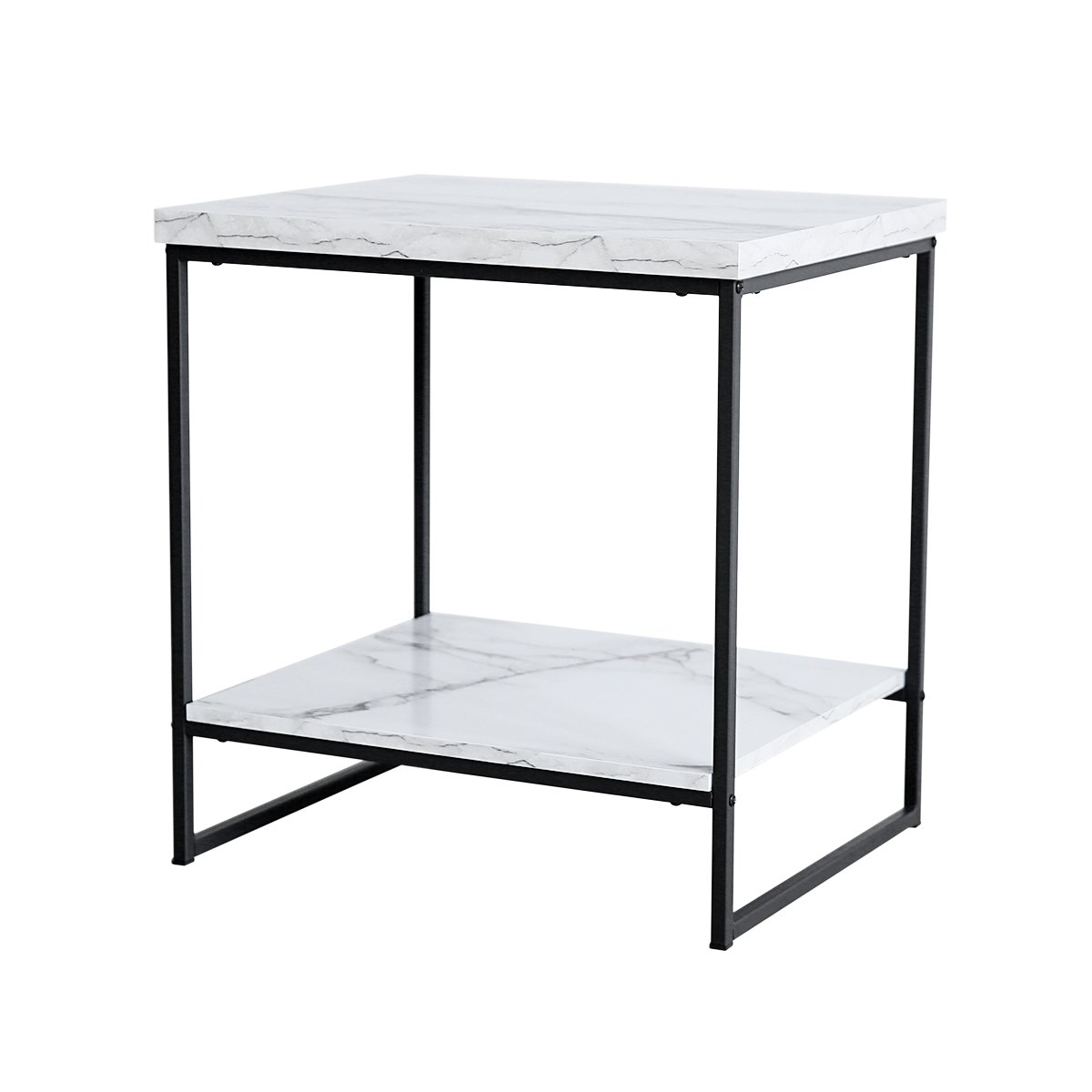 Tilly Lin Faux Marble Side Table, Water Resistant Accent End Table with Lower Shelf for Living Room, Bed Room