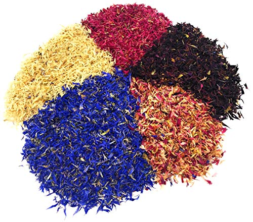 Colorful Cornflower Set - 5 beautiful, natural colors - Organically Grown Cornflower Petals - Herbal Flowers for For Homemade Lattes, Tea Blends, Bath Salts, Gifts (Centaurea Cianus)
