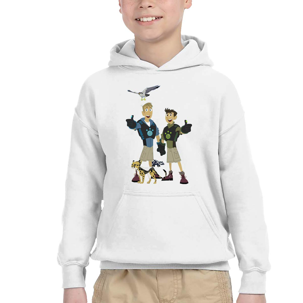 2-6 Year Old Childrens Hooded Pocket Sweater Original Retro Literary Design Wild Kratts Logo White