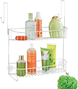 mDesign Extra Wide Metal Wire Over The Bathroom Shower Door Caddy, Hanging Storage Organizer with Built-in Hooks and Baskets on 2 Levels for Shampoo, Body Wash, Loofahs, Rust Resistant - White