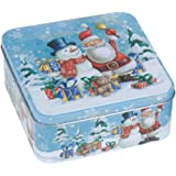 Square Christmas Snowman Kitchen Cake Cupcake Biscuit Storage Tin Gift Box (Santa & Snowman)