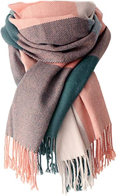 Womens Fall Winter Cashmere Feel Scarf and Shawl Large Soft Plain Blanket Scarf Wrap with Tassels