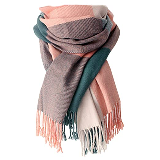 87b1ecf9fdac3 Women's Long Plaid Blanket Chunky Oversized Big Warm Scarf tartan Wrap Plaid  Shawl