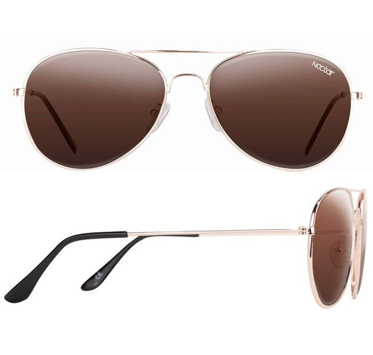 5dd8e4de929 Nectar SULLY Polarised Aviator Sunglasses GOLD TAN  Amazon.co.uk  Sports    Outdoors