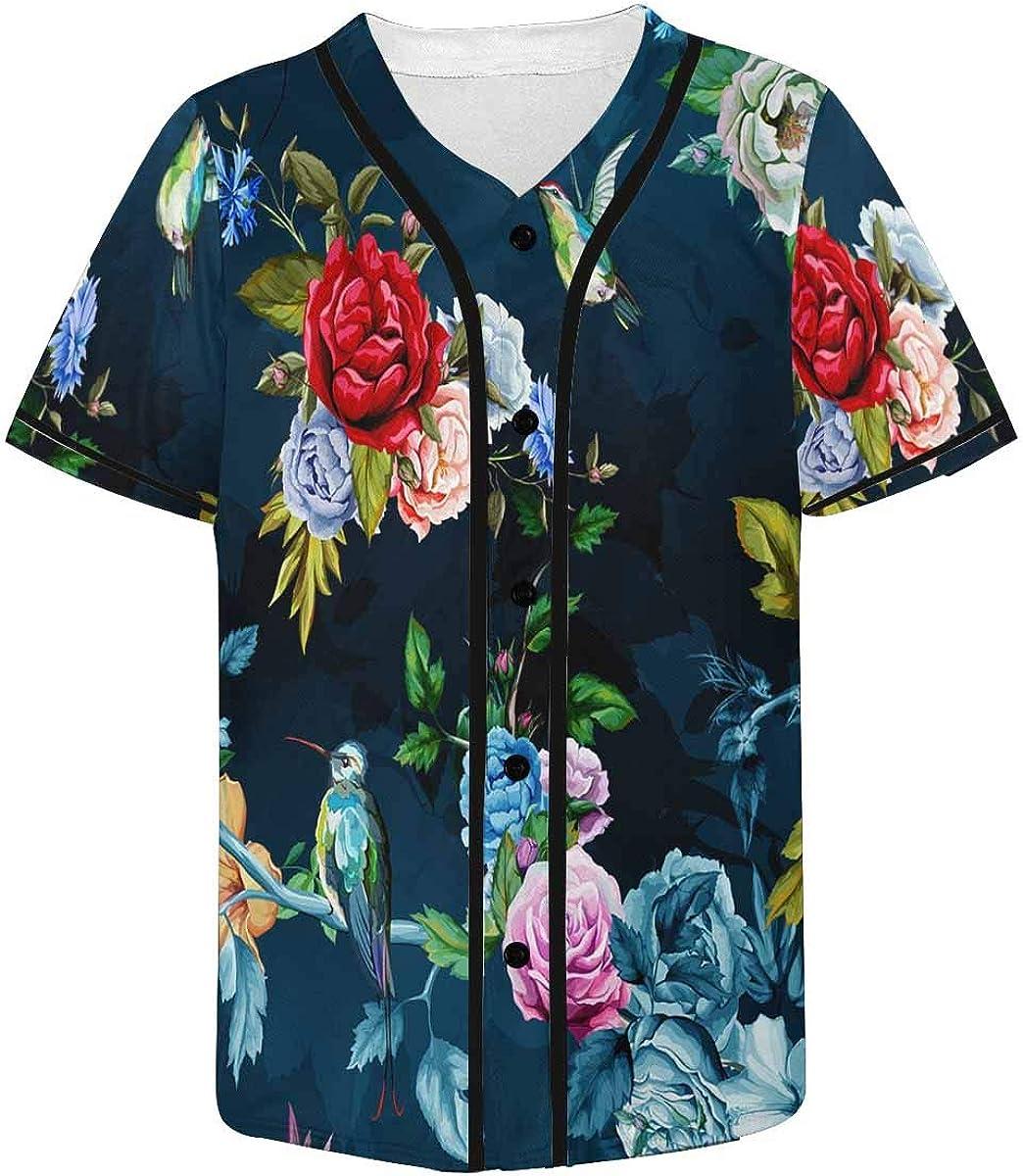 Amazon Com Interestprint Humming Bird Wild Roses Peony Cornflower Leaves Baseball Jersey For Men Clothing