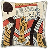 Handmade 100% Wool Needlepoint King of Spades WSOP Playing Card Poker Throw Pillow. 12'' x 12''.