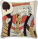 Handmade 100% Wool Needlepoint King of Spades WSOP Playing Card Poker Throw Pillow. 12'' x 12''.