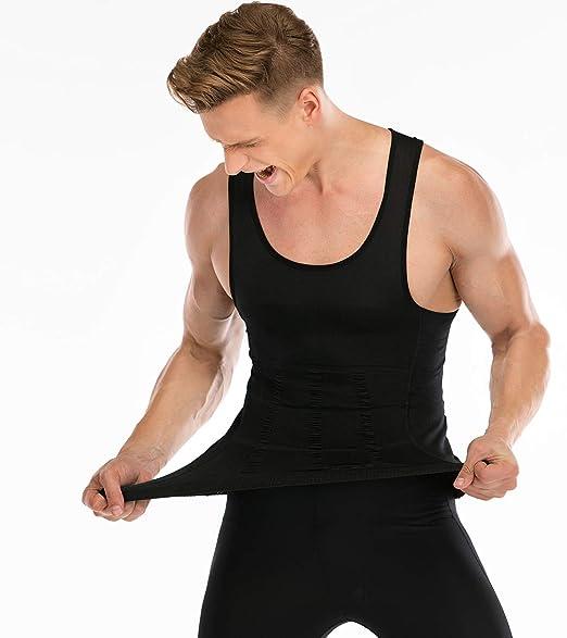 HANERDUN Men Body Shaper Chest Compression Shirt Hide Gynecomastia Moobs Slimming Vest