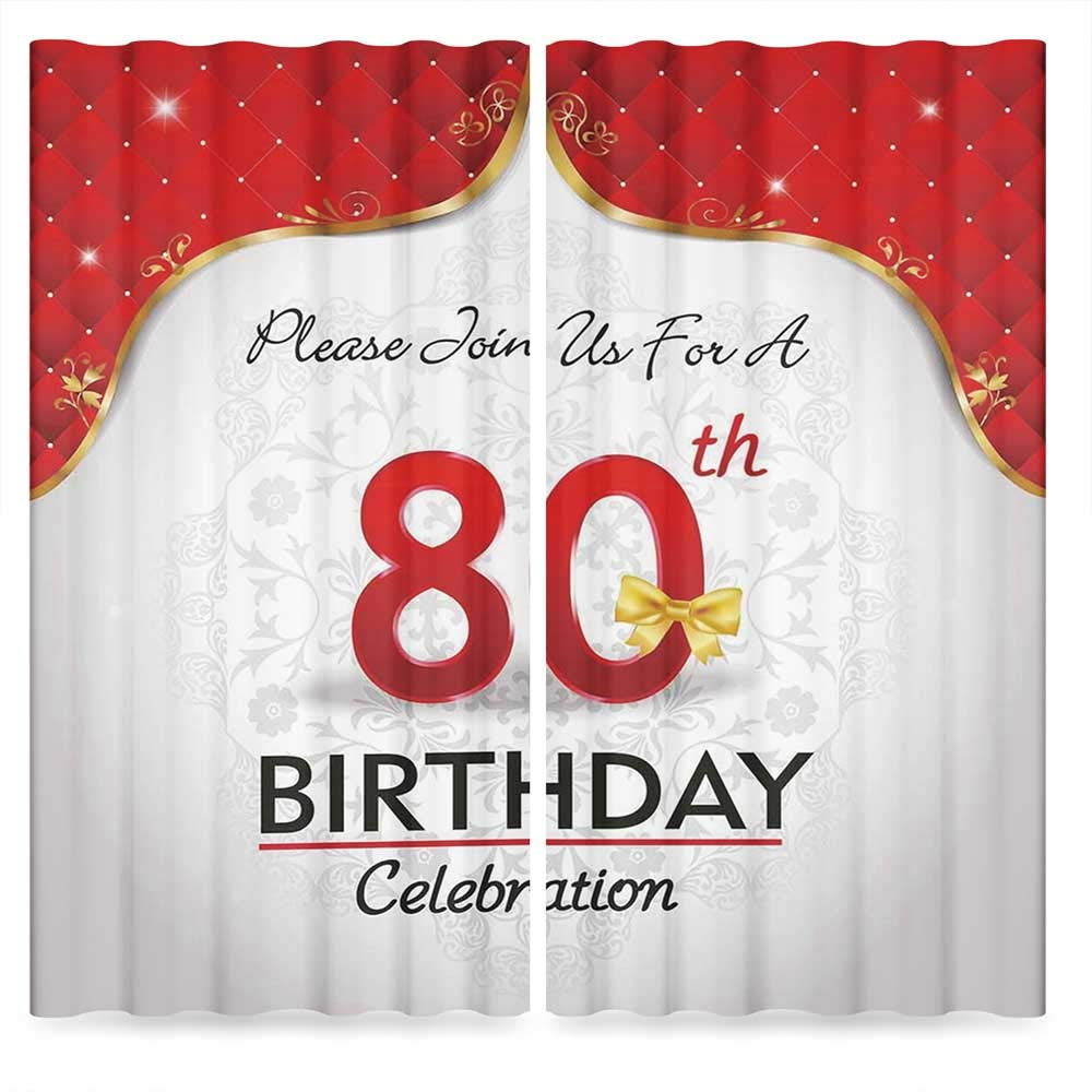 80th Birthday Decorations Door Curtain,Birthday Party Invitation with Abstract Flora Backdrop,for Living Room, 2 Panel Set, 28W X 39L Inches