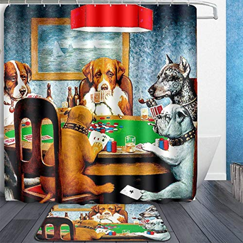 MAHENSHANGM Dogs Playing Poker Funny 2 Set Bathroom Set 60X72in Shower Curtain 15.7x23.6in Bath Mats Floor Doormat Rugs