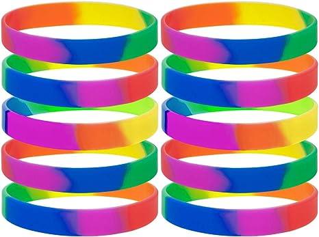 Gogo 10 pcs Rainbow Orgullo Pulseras de Silicona, Pulseras de Goma, Recuerdo de la Fiesta: Amazon.es: Deportes y aire libre