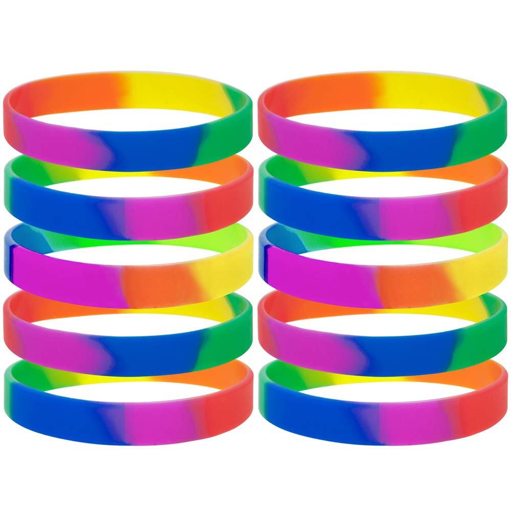 GOGO 10 PCS / Pack Rainbow Pride Wristbands Rubber Bracelets-Rainbow-1 pack DD05155_RAINBOW-1PACK