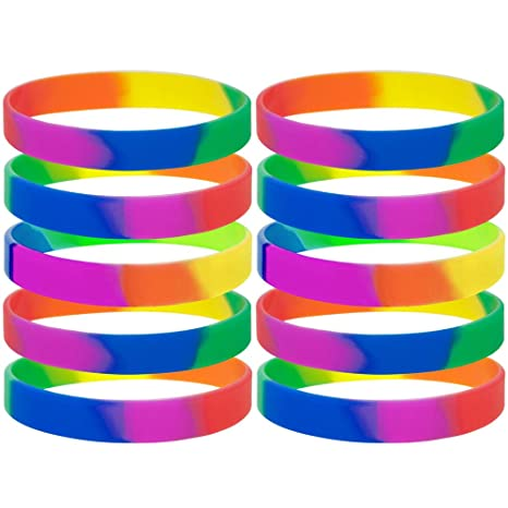 taglia 40 328dc 4d6e6 Gogo 10 pz Gomma braccialetti arcobaleno orgoglio in silicone, bracciali,  bomboniere.
