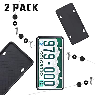 MOTOU [Pack of 2pcs] License Plate Frame, Silicone, Weather-Proof, Rust-Proof, Rattle-Proof (Black): Automotive