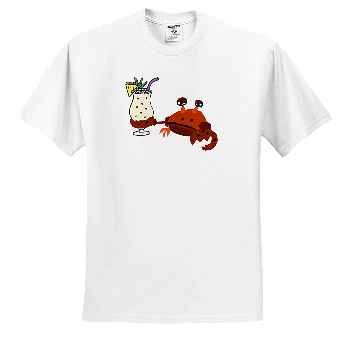 Adult T-Shirt XL 3dRose All Smiles Art Funny Cute Crab Drinking Pina Colada Beach Cartoon ts/_316999 Drinking