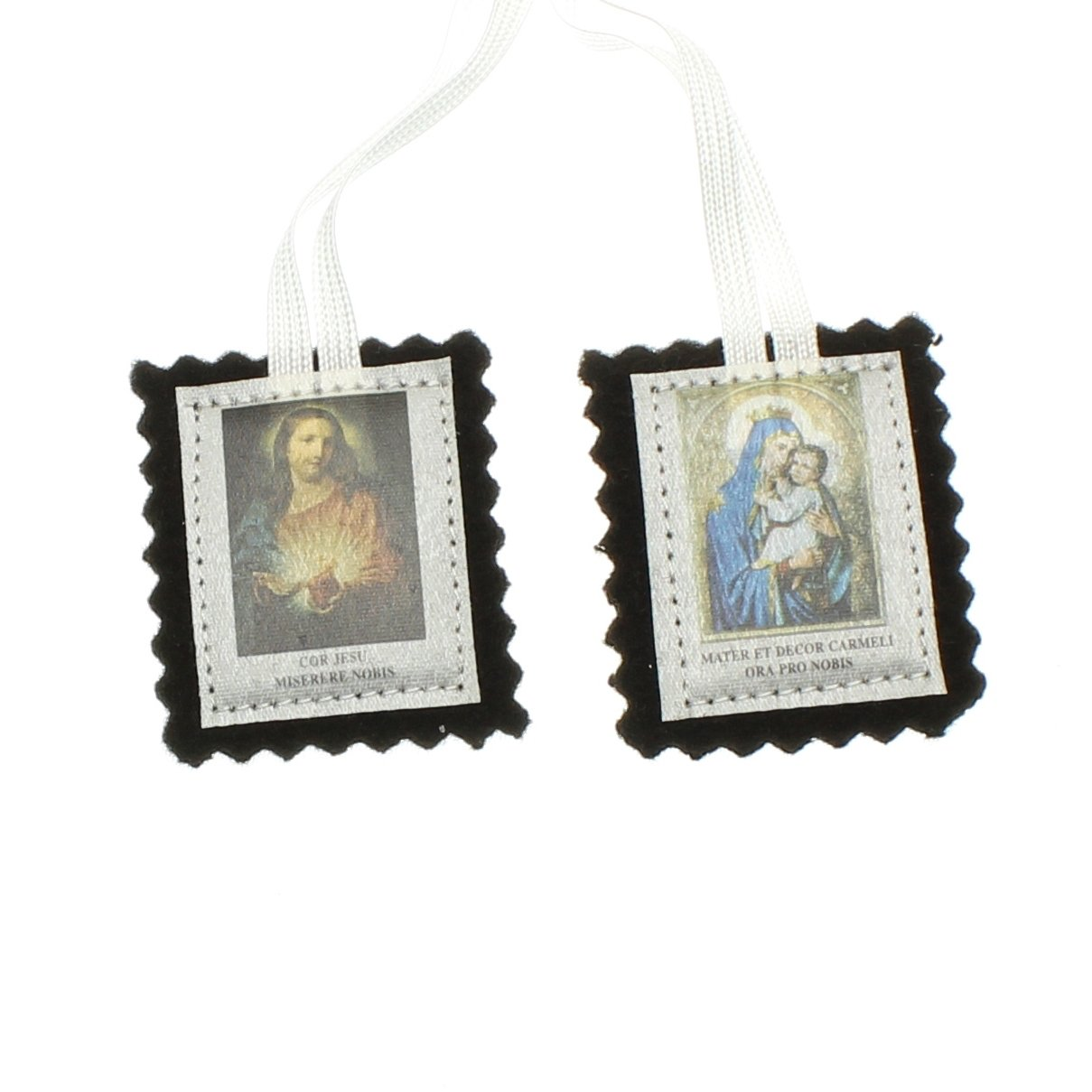 Intercession St Carmel Wool Scapular Made In Usa White Cord 23 Inches Made By Carmelite Nuns