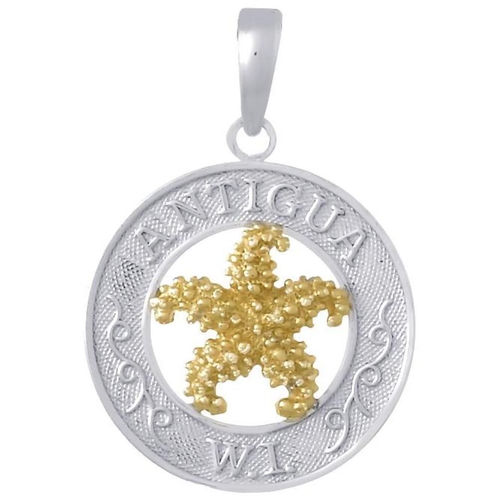 Ster Silver 14K Gold Antigua W.I. & Starfish Circle Pendant