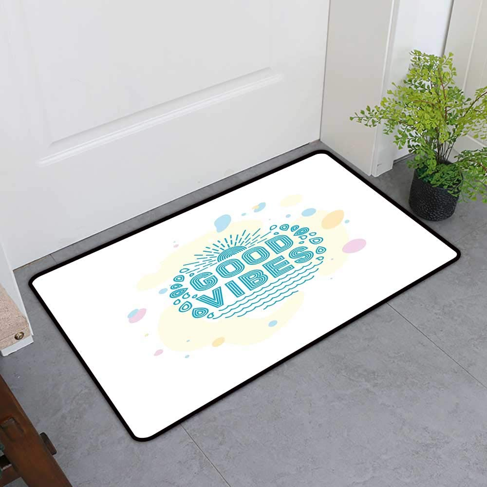 TableCovers&Home All-Natural Rubber Doormats, Good Vibes Decorative Imdoor Rugs for Kids Room, Ocean Inspired Sun Sea Water Drops Color Blots Summer Holiday Beach (Turquoise Yellow Pink, H24 x W36)