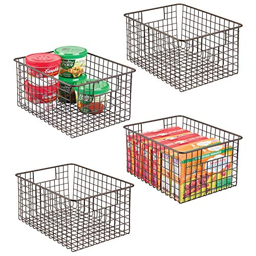 mDesign Farmhouse Decor Metal Wire Food Storage Organizer Bin Basket with Handles – for Kitchen Cabinets, Pantry, Bathroom, Laundry Room, Closets, Garage – 4 Pack, 12″ x 9″ x 6″ – Bronze