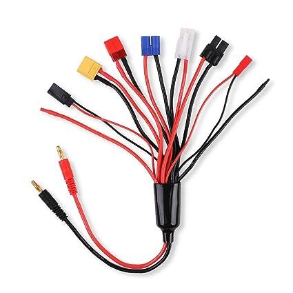 MakerStack 8 en 1 Adaptador del Cargador Cable Conector Divisor para RC Lipo Batería Cargador múltiple a 4.0mm Banana Plug para TRX, EC3, JST, Futaba, ...