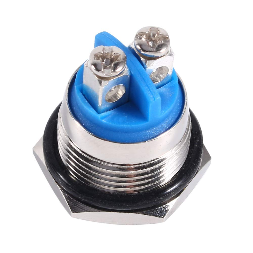 Interruptor de bot/ón pulsador-12V 16mm Impermeable Impermeable Bot/ón de metal moment/áneo ENCENDIDO APAGADO Interruptor de bocina Plata