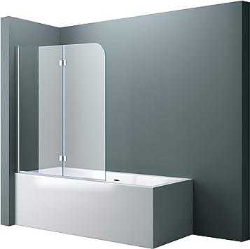 BxH: 117 x 141 cm Mampara de ducha pared para bañera de cristal bañera plegable pared cortona1408/Incluye al nano-recubrimiento, cristal de seguridad de 6 mm,: Amazon.es: Bricolaje y herramientas